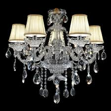 Glass Droplet Chandelier Sparkling Clear K9 Crystal Strands And Droplets Soft White Fabric