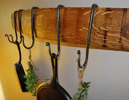 french oak wine stave pot rack with adjustable hand forged iron