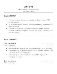 sample resume format with work experience child care resume sample