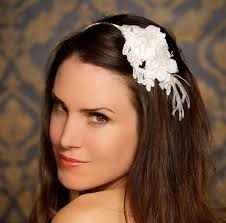 white flower headband goes wedding white flower sweet chic wedding hair accessories