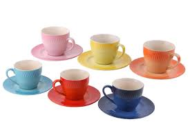 set of 6 colorful ceramic espresso cups with saucers faded spray