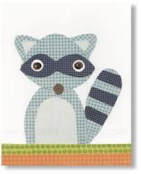 Raccoon Nursery Decor Felt Owl Picture Animal Wall Framed Owl On