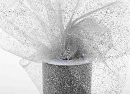 spool of tulle silver glitter shimmer tulle spool anniversary 25th and 50th