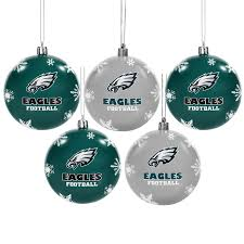 eagles 5 pk shatterproof ornaments