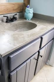 How To Make A Concrete Sink For Bathroom Diy Vanity Makeover Using Concrete Overlay