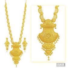 long gold necklace sets images 22k filigree bridal patta set ajns55372 22k gold bridal long jpg
