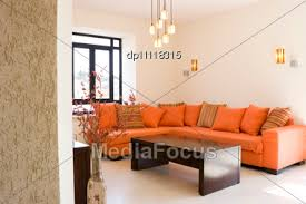 Orange Living Room Set Stock Photo Modern Furniture Set Living Room Cottage Image