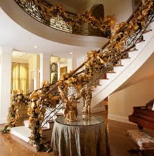 interior gorgeous christmas staircase decorations in gold