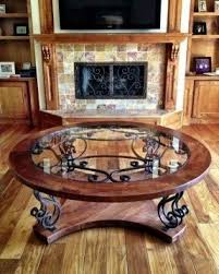 wood and wrought iron coffee table foter
