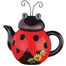 Ladybug Kitchen Curtains by Amazon Com Ladybug With Swirls Teapot For Kitchen Decor And Teas