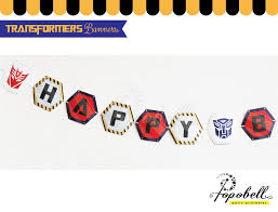 printable transformers birthday banner transformers pennant banners with happy birthday text by popobell