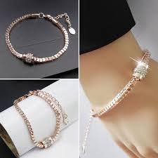 rose gold crystal bracelet images Women 39 s rhinestone rose gold plated crystal bracelet bangle trendy jpg