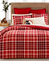 Tartan Flannelette Duvet Cover Bedroom Red Decorative Plaid Flannel Sheets With Throw Pillows