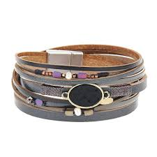 black leather wrap bracelet images Black leather wrap bracelet pearl and colorful beads jpg