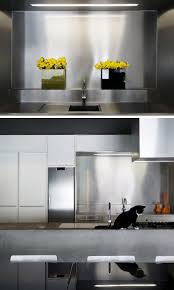 kitchen design idea install a stainless steel backsplash for a the combination of the stainless steel backsplash and the concrete island make for a durable contemporary kitchen