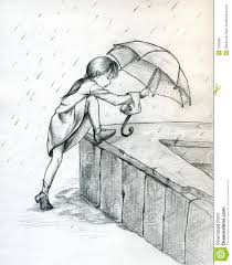 rain with umbrella pencil drawing drawing of sketch