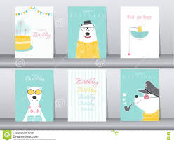 set of birthday cards poster invitation cards template greeting