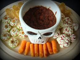 creepy crudites platter fork and beans