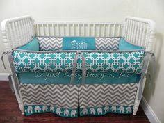 Custom Crib Bedding Sets Turquoise And Gray Elephants Chevron Custom Crib Bedding Set