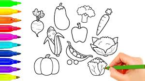 how to draw vegetables coloring pages for kids best learning