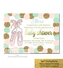 ballerina baby shower invitations ballerina ballet slippers baby shower invitation girl pink mint