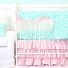 Pink And Teal Crib Bedding by Delilah U0027s Pink And Aqua Damask Ruffle Baby Bedding Caden Lane