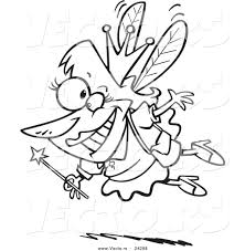 vector of a cartoon happy tooth fairy black and white outline