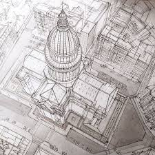 freehand architectural sketches demonstrate immense skill