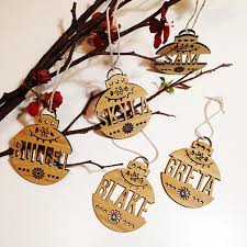 personalised decorations wooden ornaments finlee and me