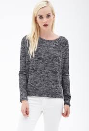 forever 21 marled knit sweater in gray lyst