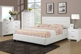 f9247 bedroom set by boss in white w leatherette upholstered bed