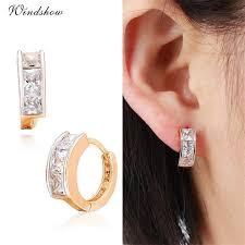 hoop huggie gold plated channel pave princess cut cz diamond hoop earrings for