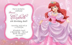 Princess Themed Birthday Invitation Cards Ariel Birthday Invitations Dhavalthakur Com