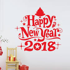 2018 happy new year 2018 merry tree wall sticker home shop