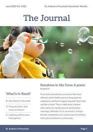 blue preschool newsletter templates by canva