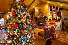 home with christmas tree design for holiday decoration living room