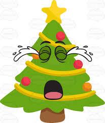 a crying christmas tree cartoon clipart vector toons