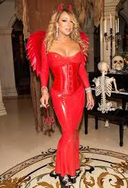 mariah carey stuns in latex devil costume at halloween party with