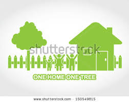 one home illustration ecological city silhouettes holding stock