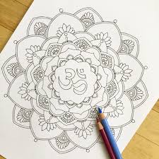 om mandala coloring pages om hand drawn adult coloring page print