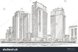 architectural sketch idea drawing city stock vector 150608144