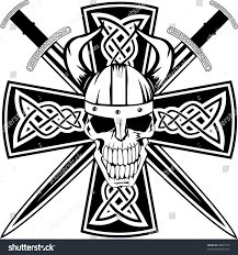 Celtic Skull - celtic cross crossed swords skull stock vector 89005123