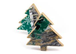 recycled skateboard tree ornament