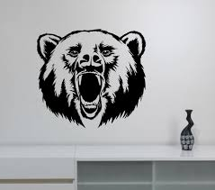 hunting decorations for home roaring bear wall sticker vinyl decal hunting wild animal art