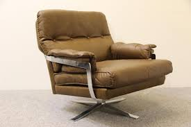 Vintage Brown Leather Armchair Arne Norell