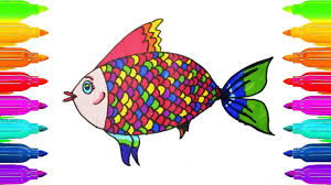 coloring pages fish how to draw fish art colours for kids with