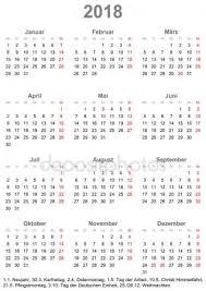 Kalendář 2018 Svátky Jednoduchý Kalendář 2018 S Státní Svátky Pro Německo Stock