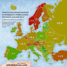 Map Of The World Countries Immigration In Europe Map Of The Percentages And Countries Of