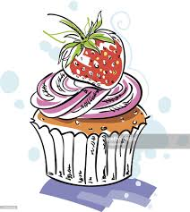 strawberry cupcake pen ink watercolor drawing sketch color image