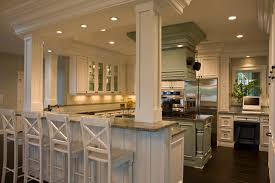 kitchen island columns 21st century bungalow traditional kitchen new york by